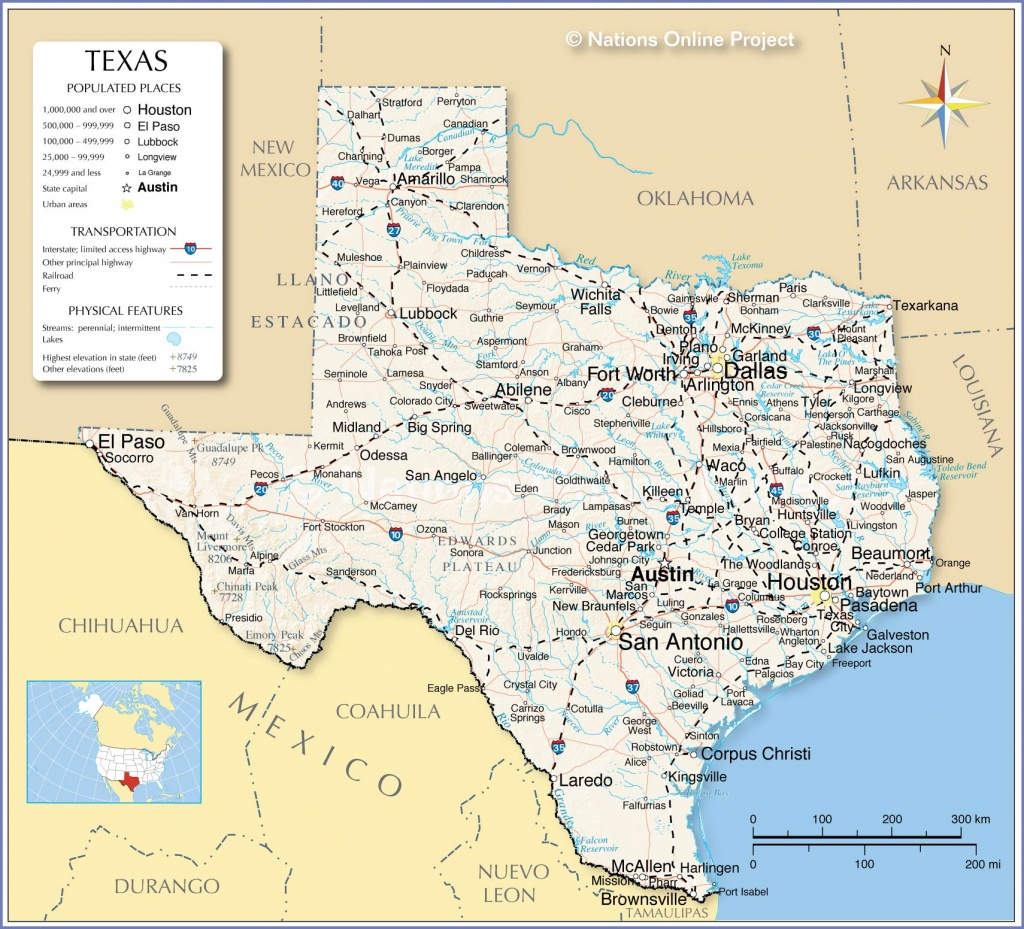 Reference Maps Of Texas, Usa - Nations Online Project - Map Of Texas Coastline Cities