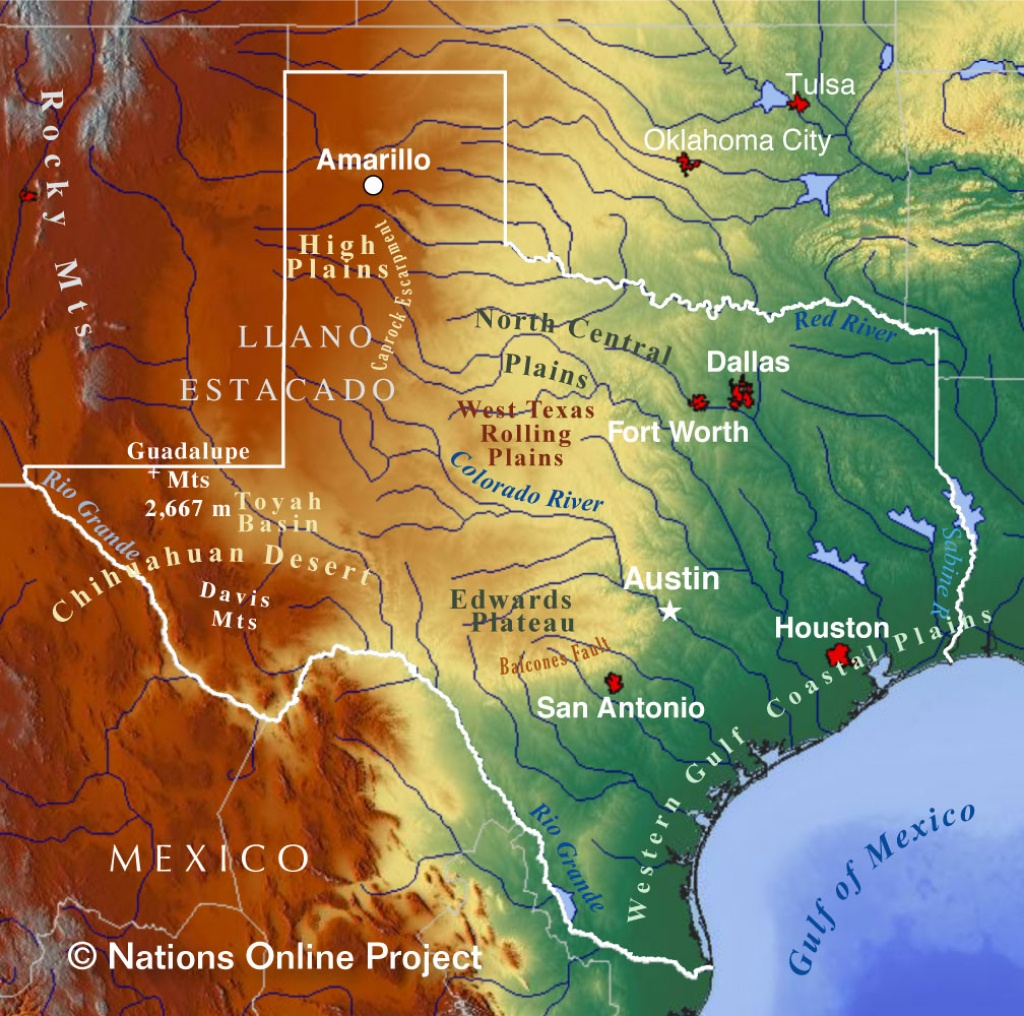 Reference Maps Of Texas, Usa - Nations Online Project - Map Of Texas Coastline