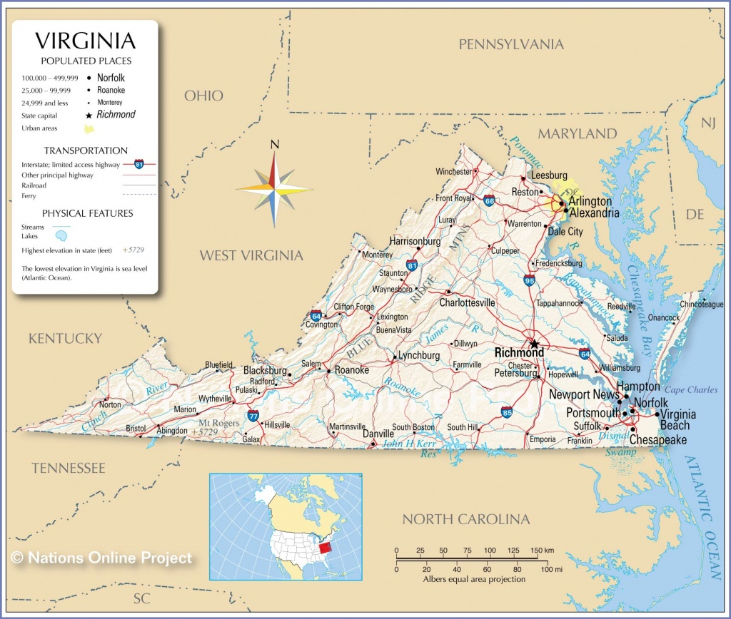 Reference Maps Of Virginia, Usa - Nations Online Project - Virginia State Map Printable