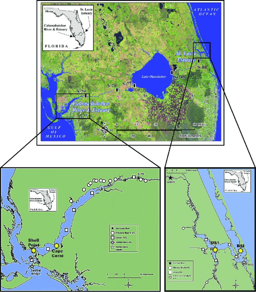 Regional Map For South Florida Including Lake Okeechobee, The - Shell Point Florida Map