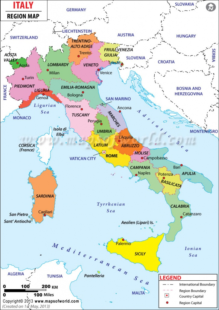 Regions Of Italy | Map Of Italy Regions - Maps Of World - Printable Map Of Italy With Regions