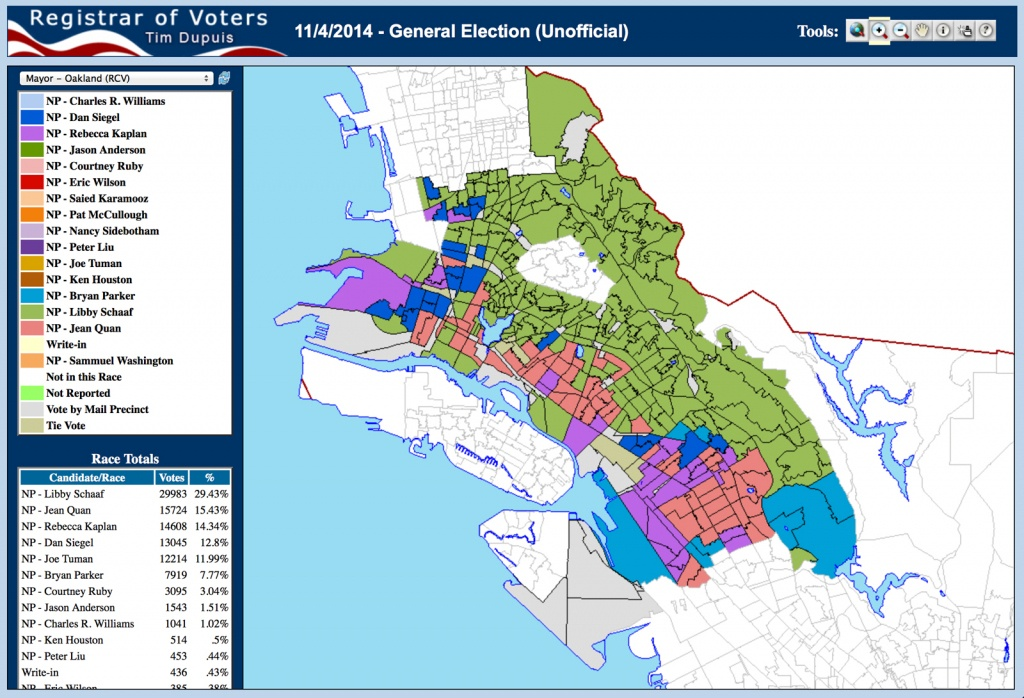 Registrar's Map Gives Nuanced Glimpse Into Oakland Mayoral Results - California Voting Precinct Map