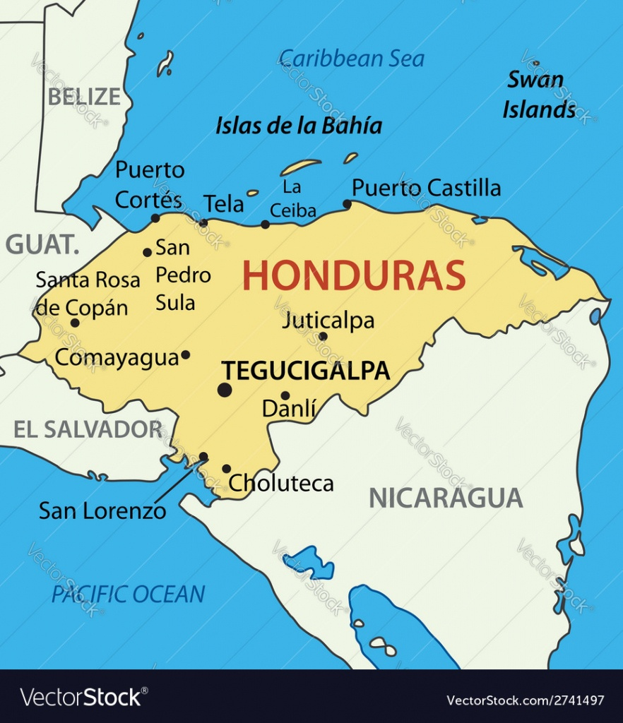 Republic Of Honduras - Map Royalty Free Vector Image - Printable Map Of Honduras