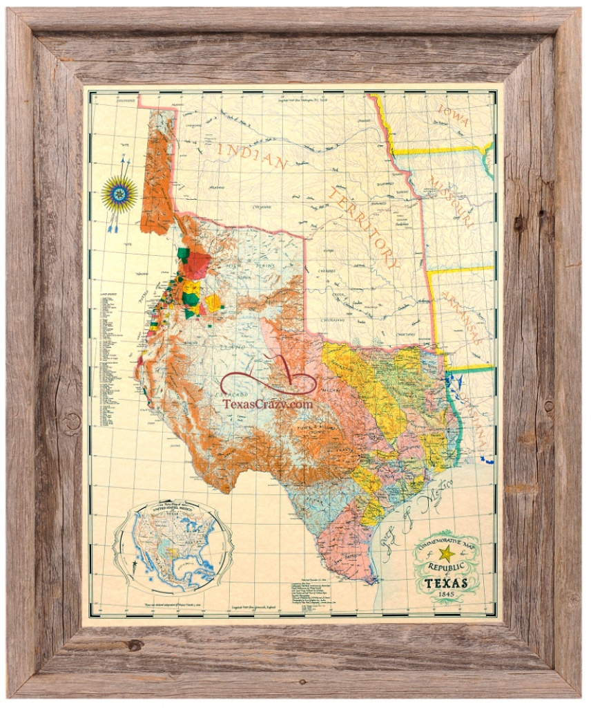 Republic Of Texas Map 1845 Large Framed - Framed Texas Map