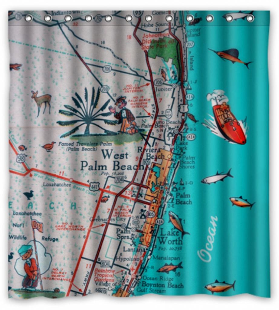 Retro Beach Map Shower Curtain West Palm Beach Jupiter Lake   Etsy - Florida Map Shower Curtain