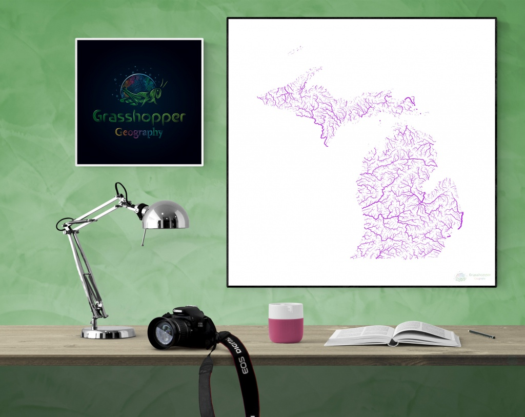 River Basins Of Michigan In Rainbow Colours High Resolution   Etsy - Michigan River Map Printable