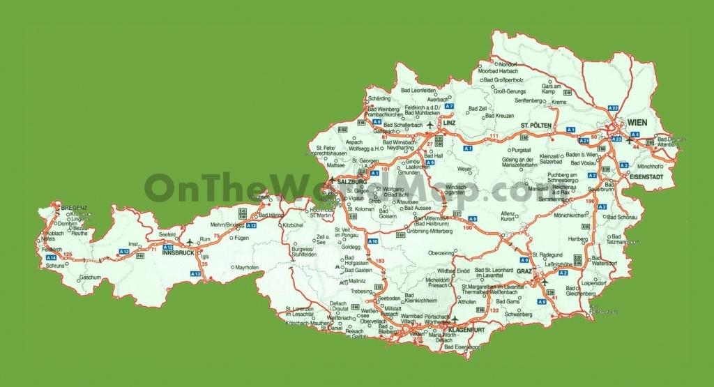 Road Map Of Austria - Printable Map Of Austria