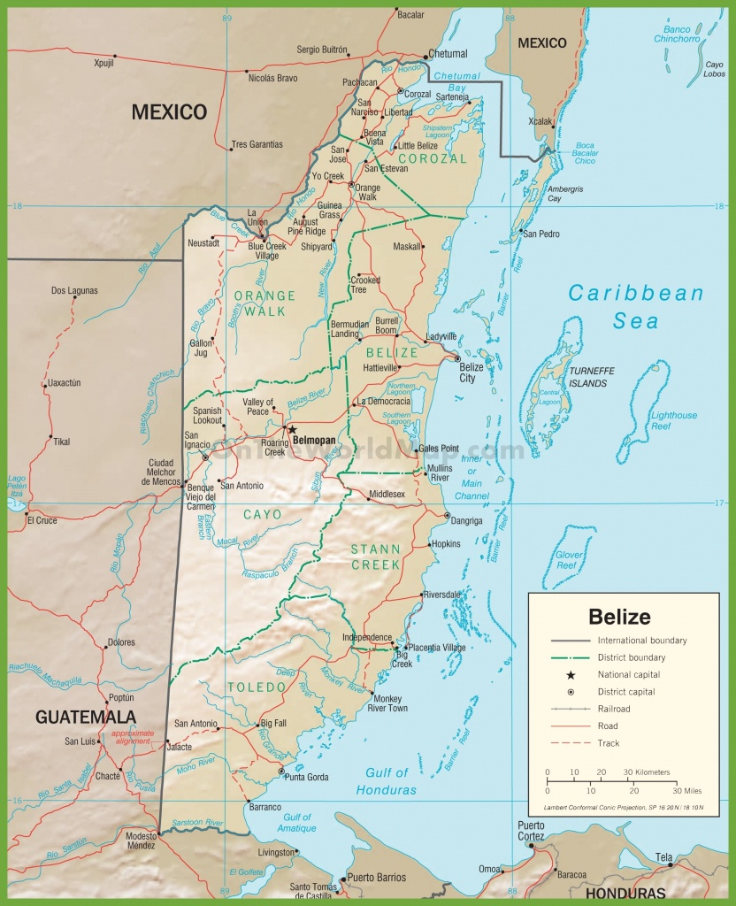 Road Map Of Belize - Printable Map Of Belize