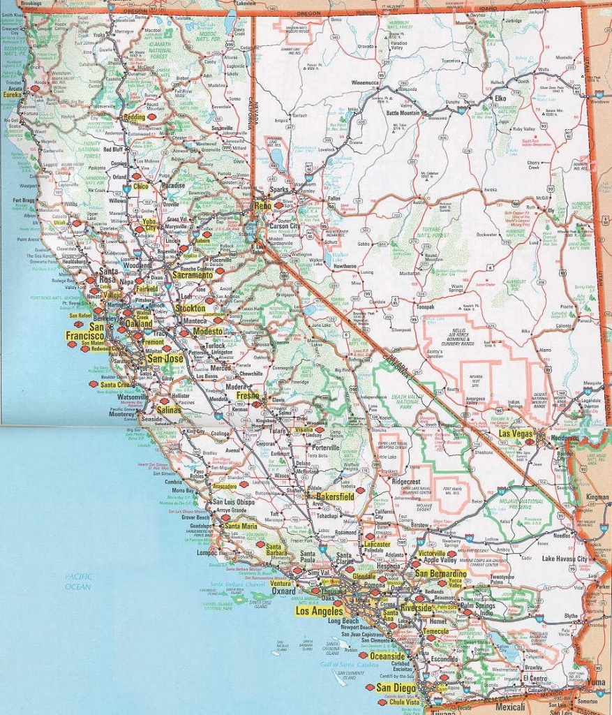 Road Map Of California Map With Cities California Nevada Map Image - Map Of California And Nevada