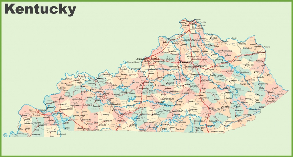 Road Map Of Kentucky With Cities - Printable Map Of Kentucky