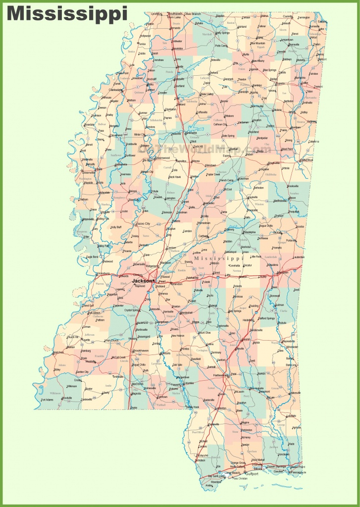 Road Map Of Mississippi With Cities - Printable Map Of Ms