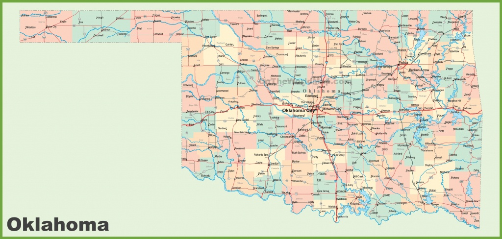 Road Map Of Oklahoma With Cities - Printable Map Of Oklahoma