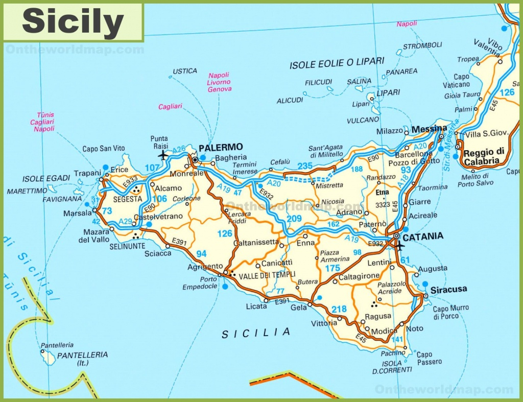 Road Map Of Sicily With Cities And Towns - Printable Map Of Sicily