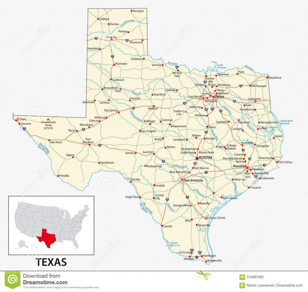 Road Map Of The Us American State Of Texas Stock Vector - Big Spring Texas Map