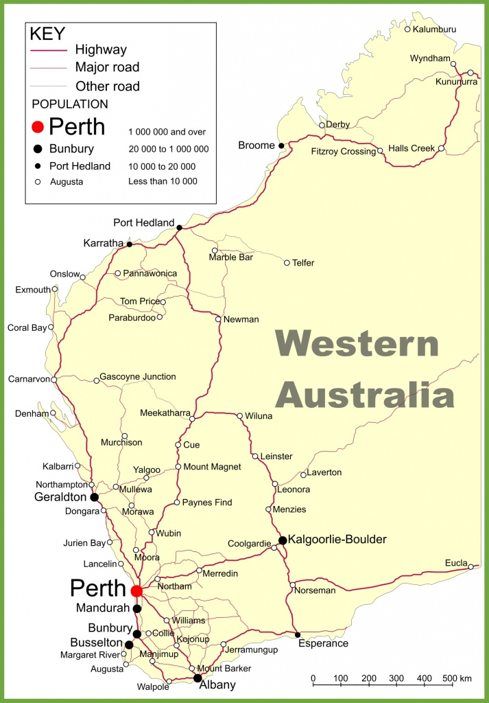 Road Map Of Western Australia With Cities And Towns - Printable Map Of Western Australia