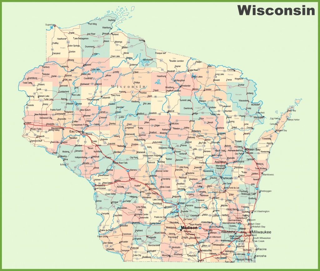 Road Map Of Wisconsin With Cities - Map Of Wisconsin Counties Printable