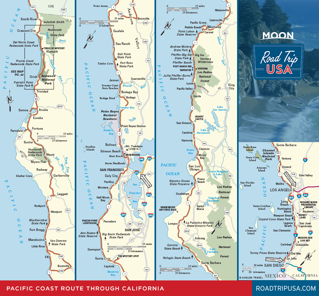 Road Trip California On The Classic Pacific Coast Route | Road Trip Usa - Map Of Hwy 1 California Coast