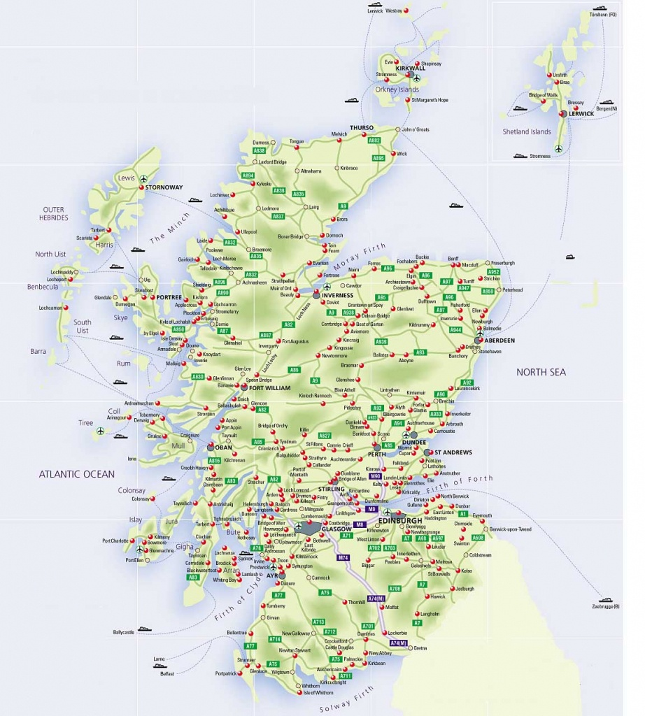 Roadmap Of Scotland – Scotland Info Guide - Printable Road Map Of Scotland