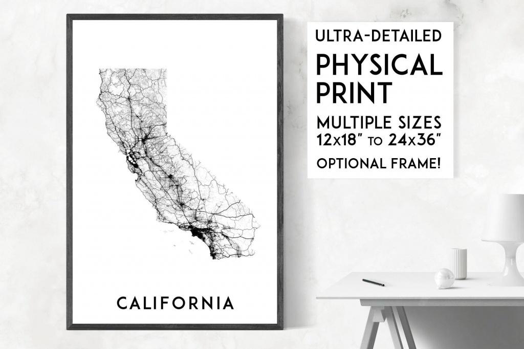 Roads Of California Map Poster California Print California   Etsy - California Map Poster