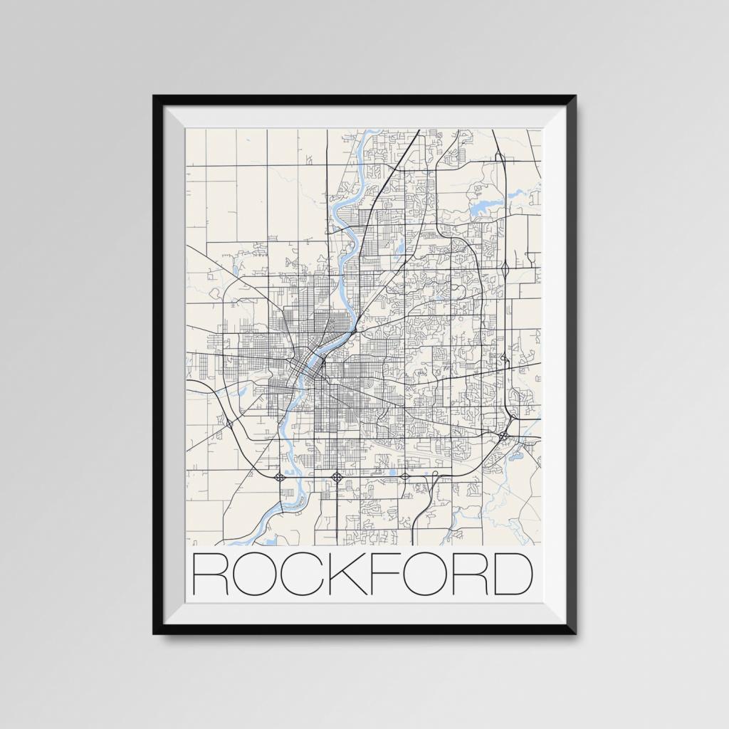Rockford Illinois Map Rockford City Map Print Rockford Map   Etsy - Printable Map Of Rockford Il