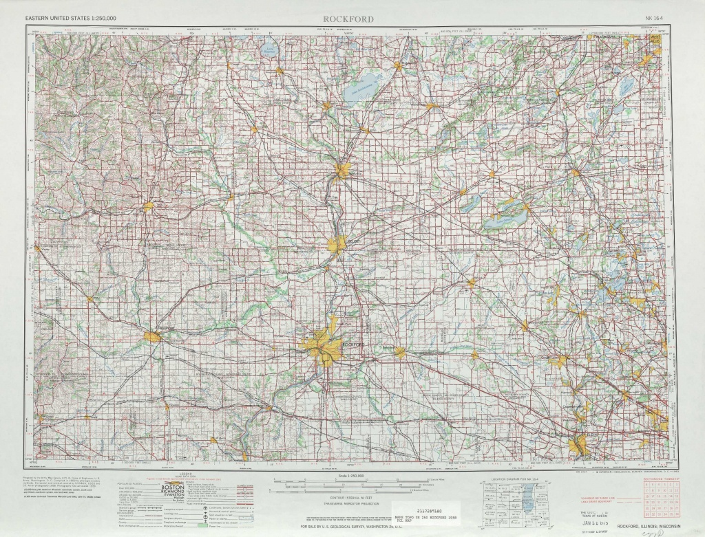 Rockford Topographic Maps, Il, Wi - Usgs Topo Quad 42088A1 At 1 - Printable Map Of Rockford Il