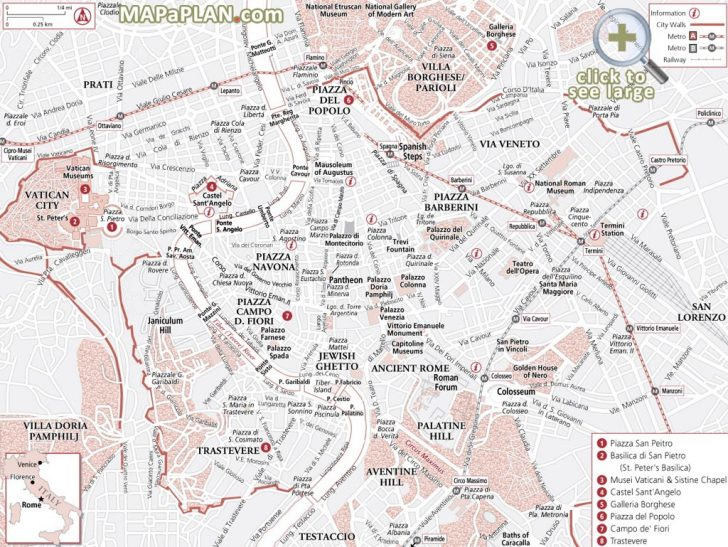 Rome Sightseeing Map Printable