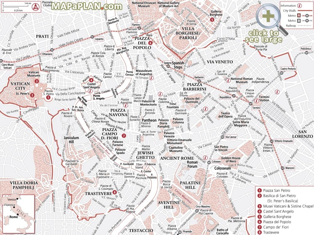 Rome Maps - Top Tourist Attractions - Free, Printable City Street Map - Rome Tourist Map Printable