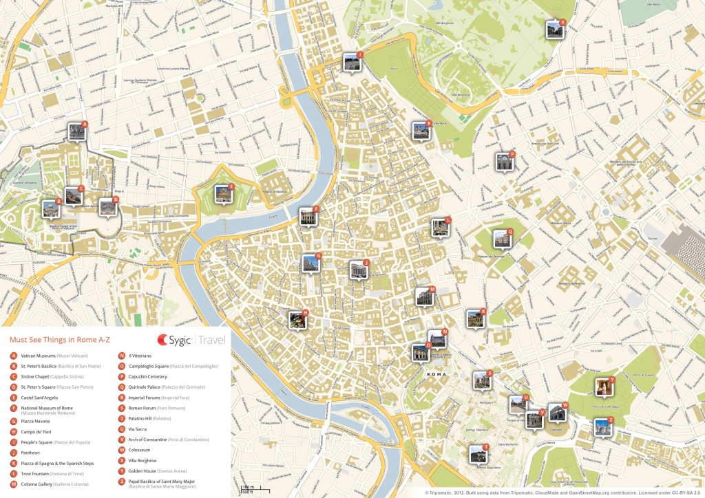 Rome Printable Tourist Map | Sygic Travel - Map Of Rome Attractions Printable
