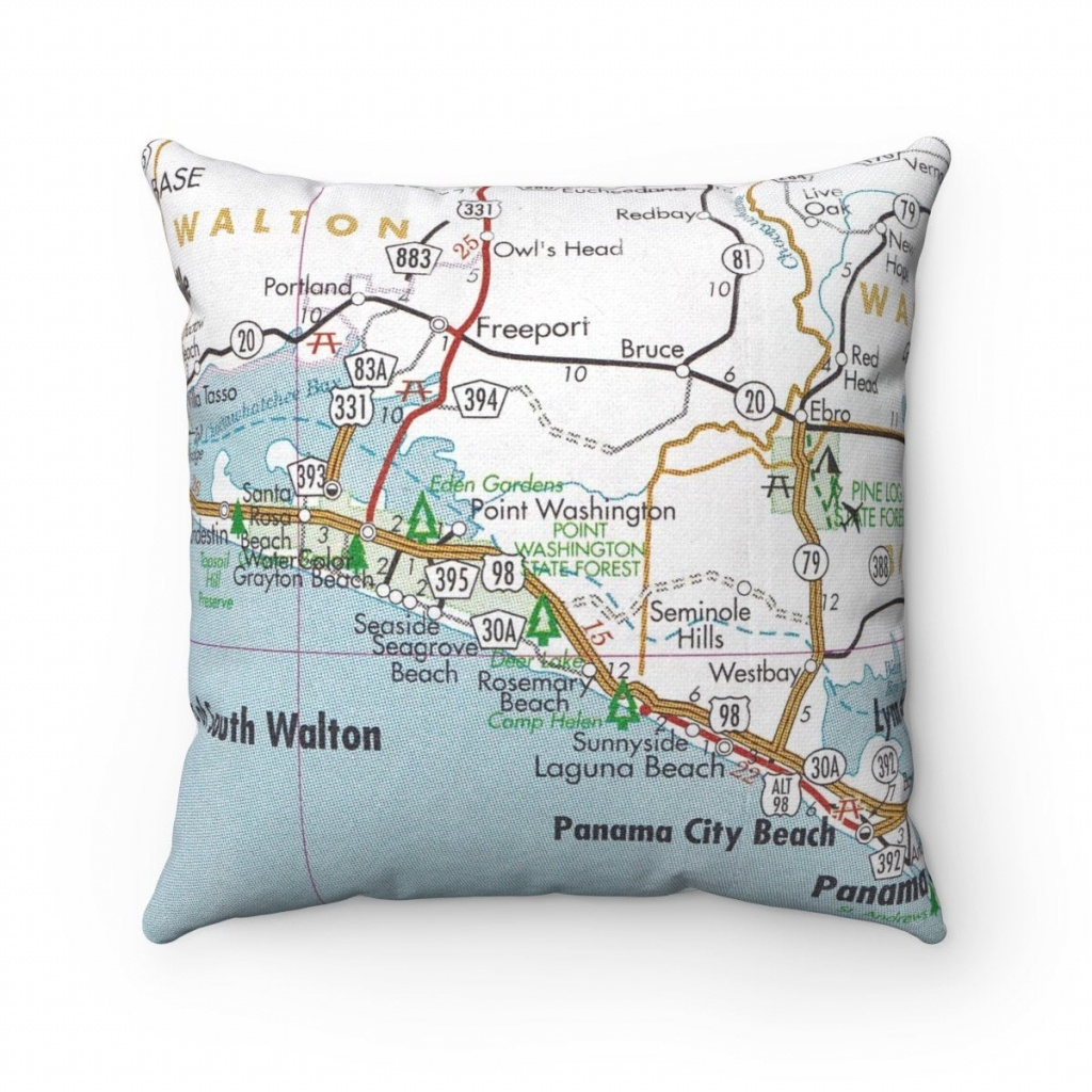 Rosemary Beach Florida Map Pillow Rosemary Beach Pillow 30A | Etsy - Rosemary Florida Map