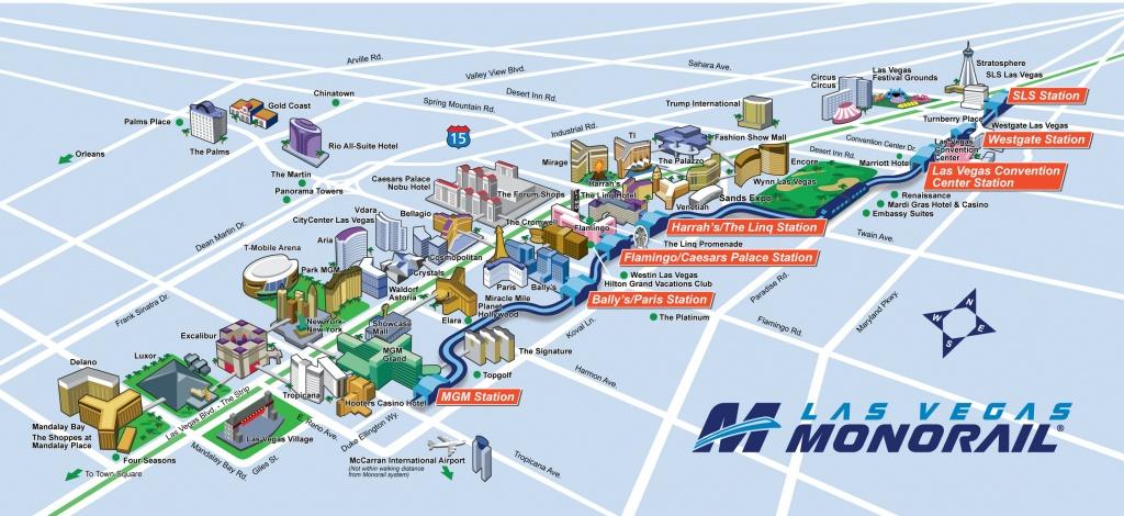 Route Map   Official Las Vegas Monorail Map - Printable Map Of Las Vegas Strip