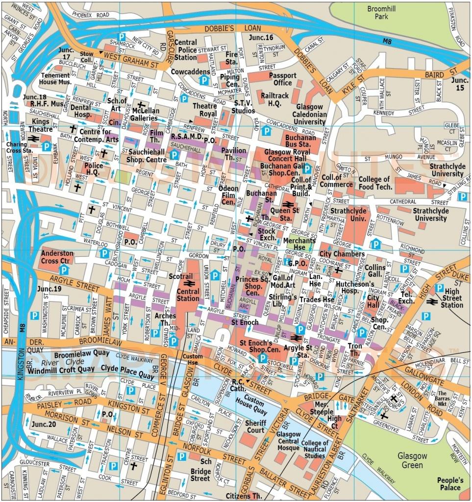 Royalty Free Glasgow Illustrator Vector Format City Map - Glasgow City Map Printable