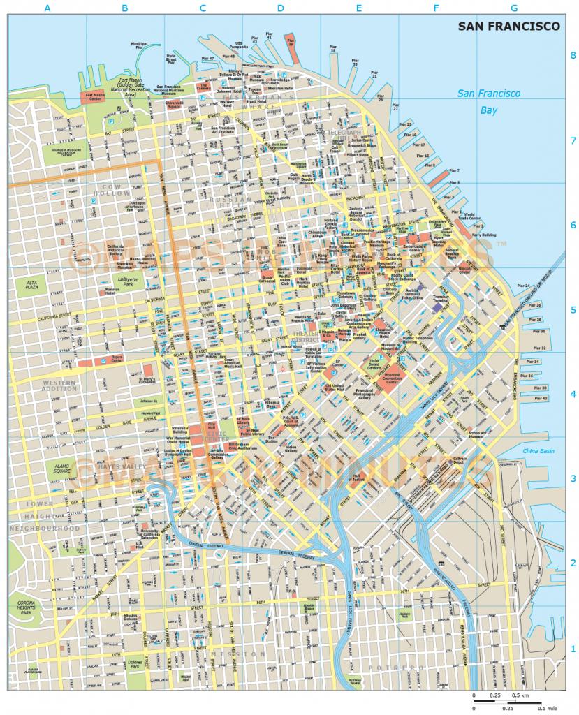 Royalty Free San Francisco Illustrator Vector Format City Map - San Francisco City Map Printable