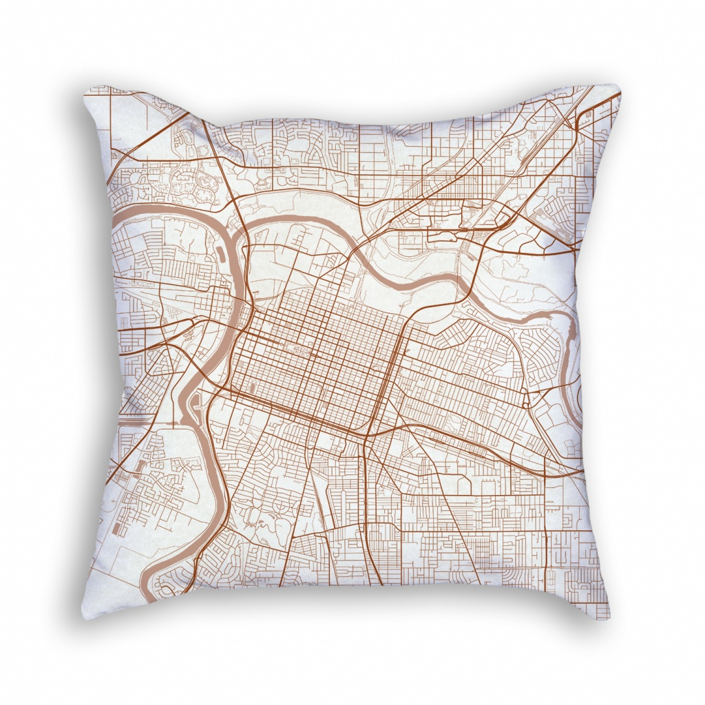 Sacramento California Throw Pillow – City Map Decor - California Map Pillow