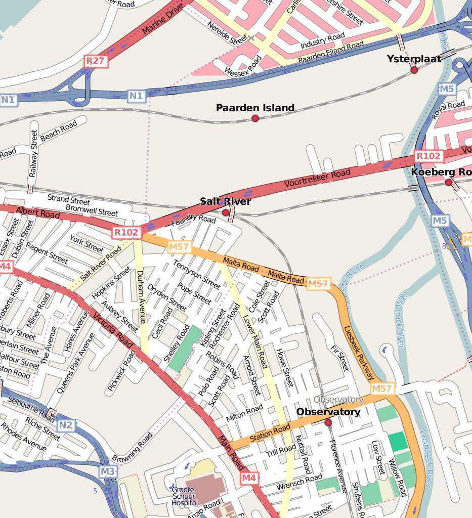 Salt River, Cape Town - Wikipedia - Printable Street Map Of Llandudno