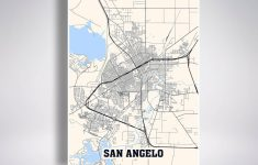 San Angelo Map Print San Angelo City Map Texas Tx Usa Map | Etsy   Street Map Of San Angelo Texas