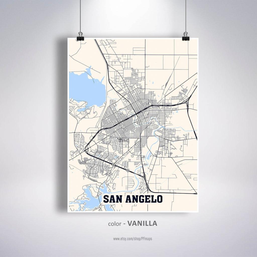 San Angelo Map Print San Angelo City Map Texas Tx Usa Map | Etsy - Street Map Of San Angelo Texas