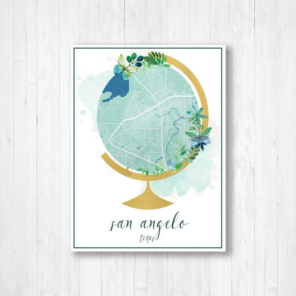 San Angelo Texas Street Map San Angelo Map Globe Art | Etsy - Street Map Of San Angelo Texas
