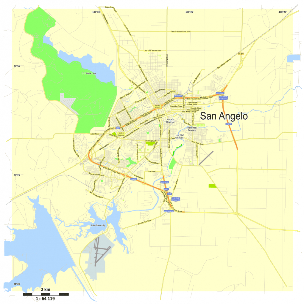 San Angelo, Texas, Us, Free Vector Map Adobe Illustrator - Street Map Of San Angelo Texas