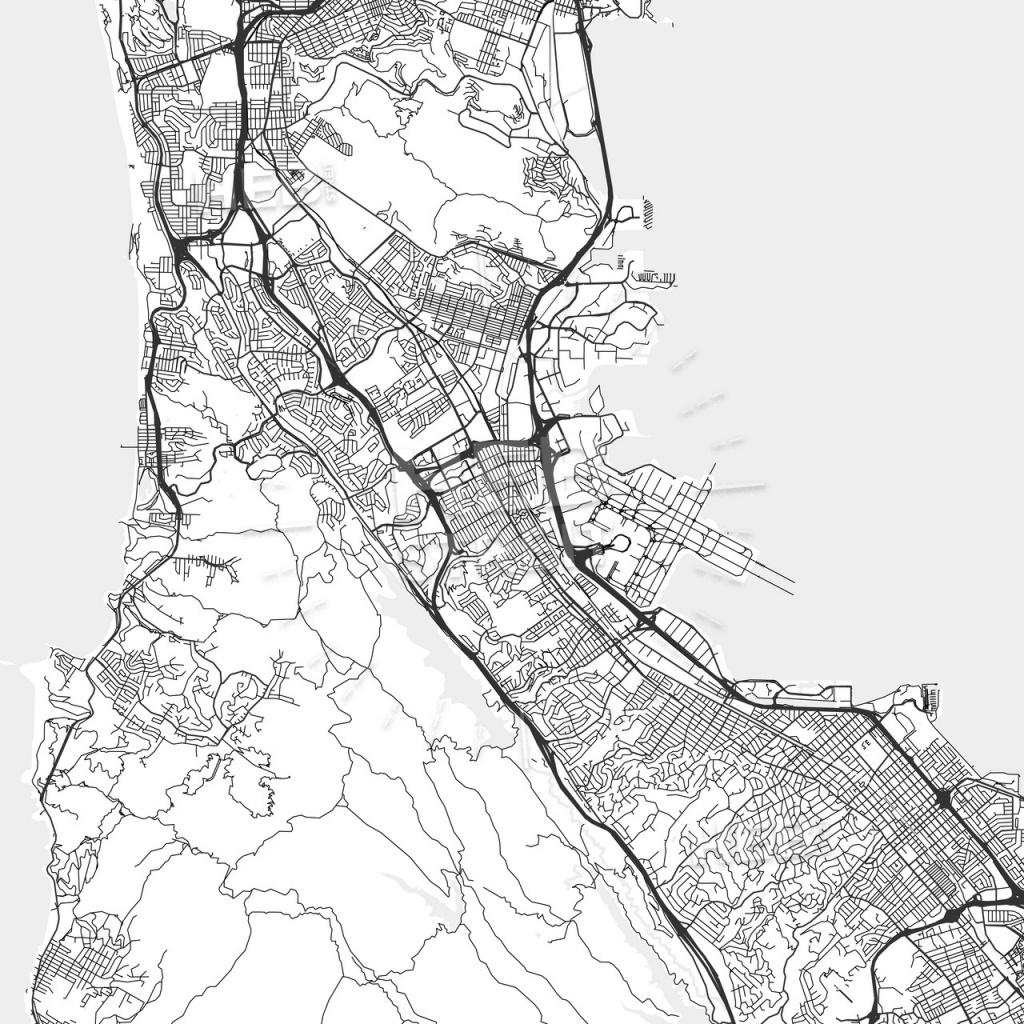 San Bruno, California - Area Map - Light   Hebstreits Sketches - San Bruno California Map