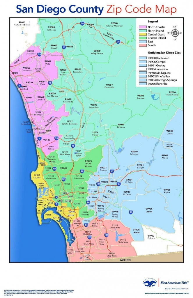 San Diego County Zip Code Map - San Diego County Map With Zip Codes - Printable Map Of San Diego County