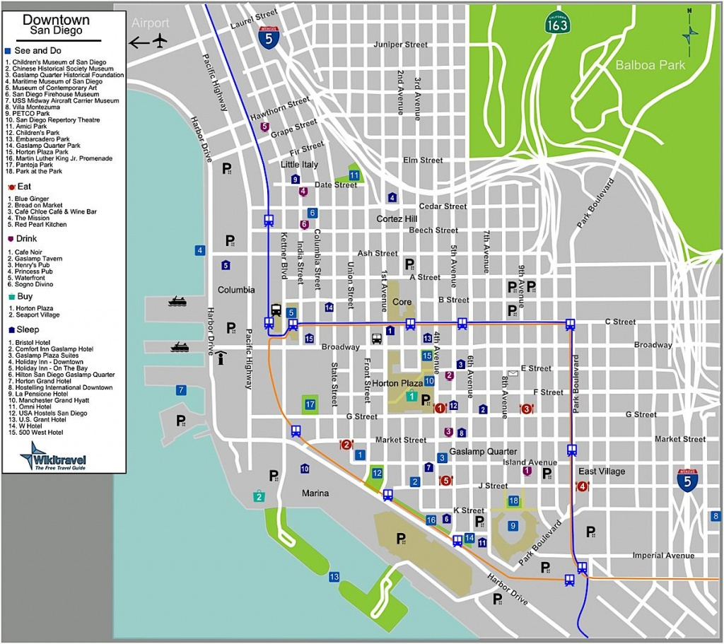 San Diego Downtown Map - Map Of San Diego Downtown (California - Usa) - California Hostels Map