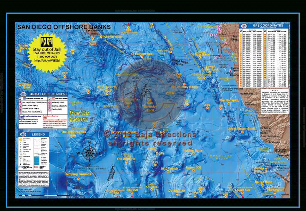 San Diego Offshore Banks - Baja Directions - Southern California Fishing Map