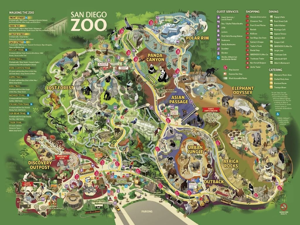 San Diego Zoo Map | California Trip In 2019 | San Diego Map, San - Oakland Zoo California Trail Map