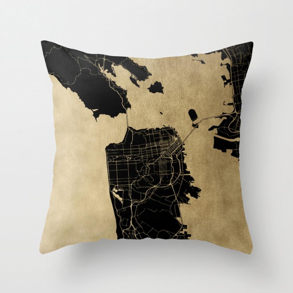 San Francisco California Black And Gold Map Throw Pillowmapmaker - California Map Pillow