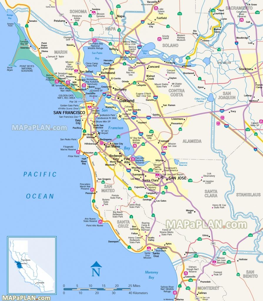 San Francisco Map - San Francisco Penisula & Surrounding Bay Area - Map Of San Francisco Area California
