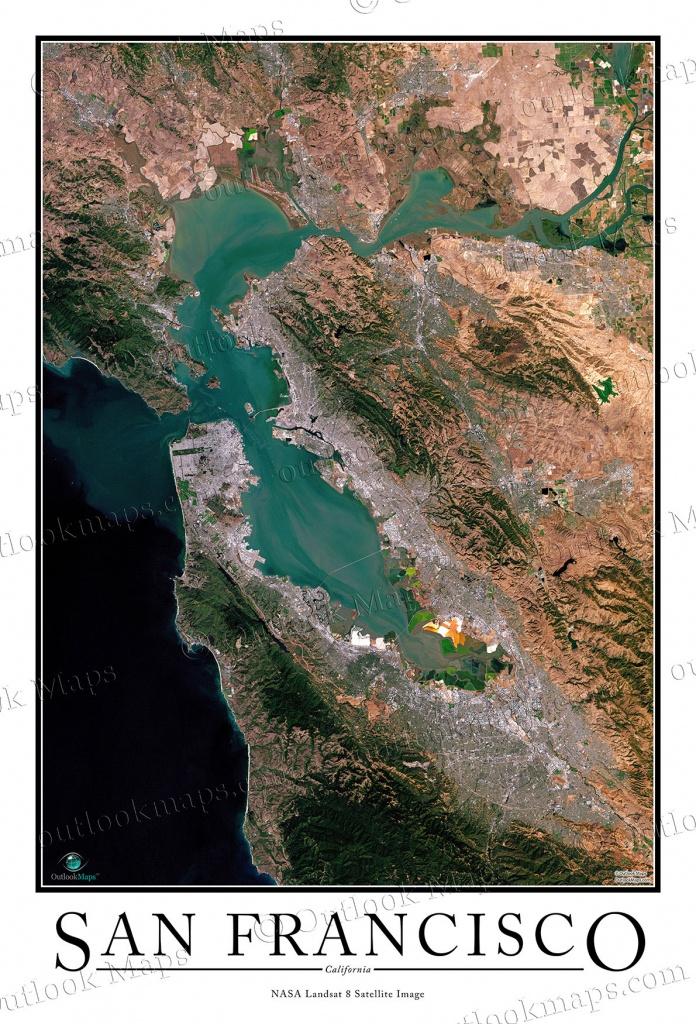 San Francisco Satellite Map Print   Aerial Image Poster - California Map Satellite