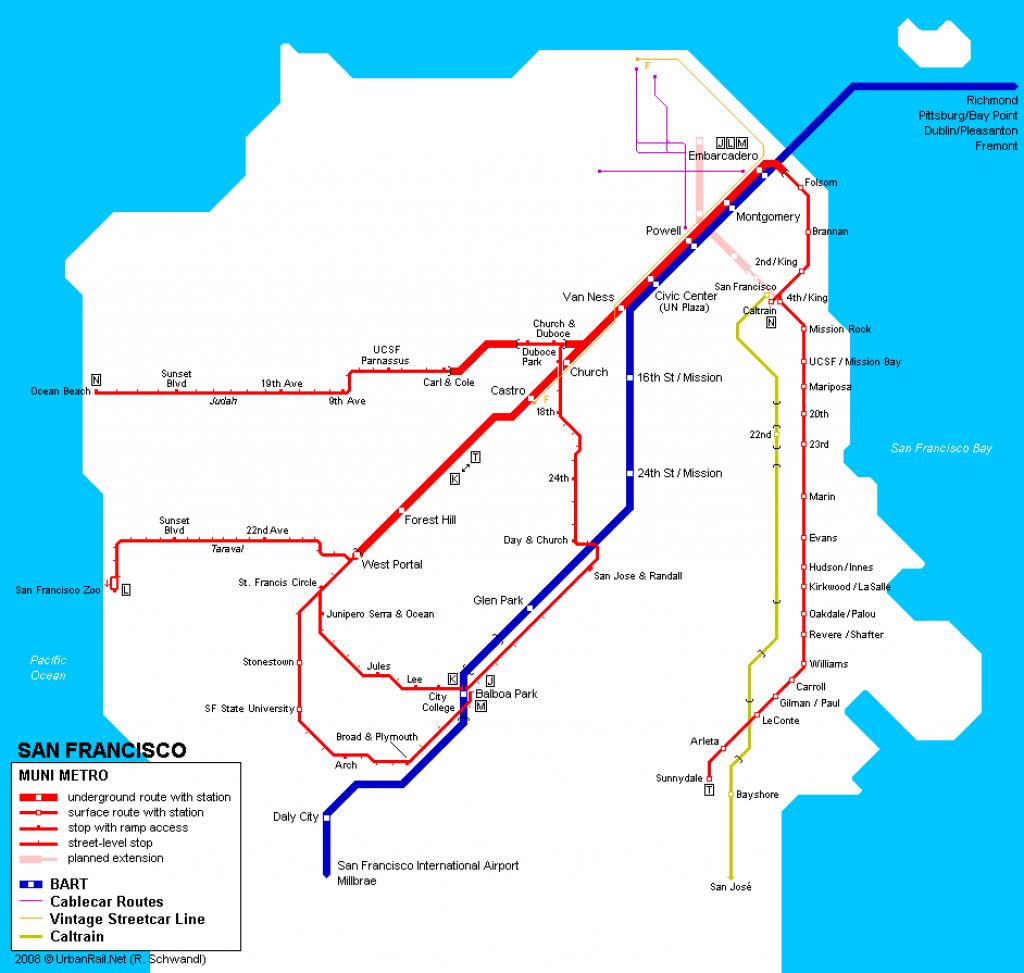 San Francisco Subway Map For Download | Metro In San Francisco - California Metro Map