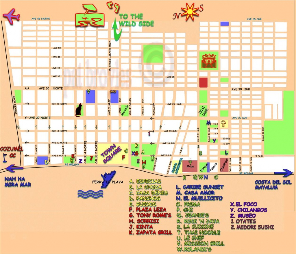 San Miguel Cozumel Map And Travel Information | Download Free San - Printable Street Map Of Cozumel