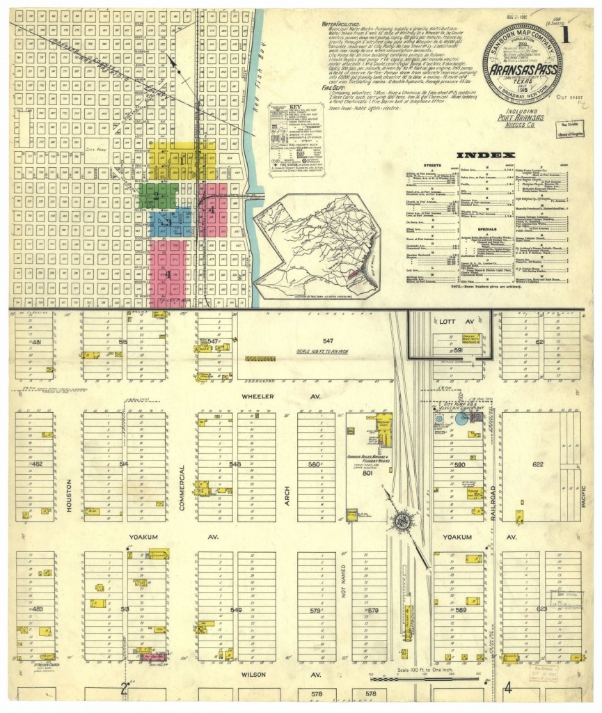Sanborn Fire Insurance Map From Aransas Pass, San Patricio County - Map Of Aransas Pass Texas