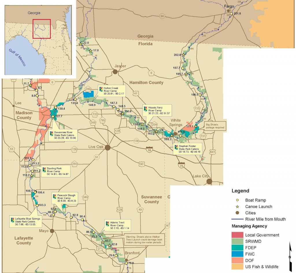 Sandybottom's Sea Kayaking And Other Adventures: Suwannee River - Branford Florida Map